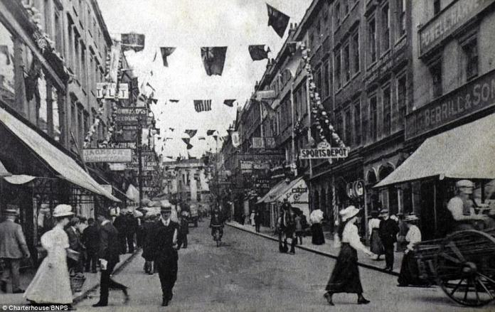 Bridge Street in Bristol is adorned with decorations ahead of the weekend market. The photo, taken on July 9, 1908, was among thousands found in old shoe boxes
