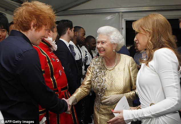 Special guest: Ed was a guest at Queen Elizabeth's Diamond Jubilee Concert in 2012, here with Kylie Minogue (right)