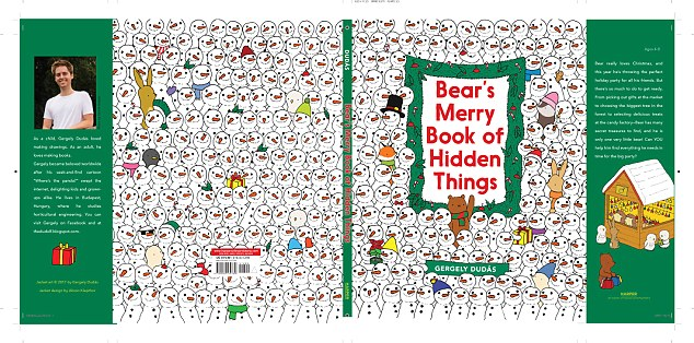 The puzzle appears in Dudas' new book, Bear's Merry Book of Hidden Things, pictured