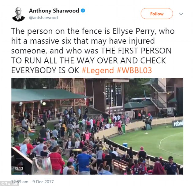 Fans who saw Perry dash over the check on the boy took to social media in admiration