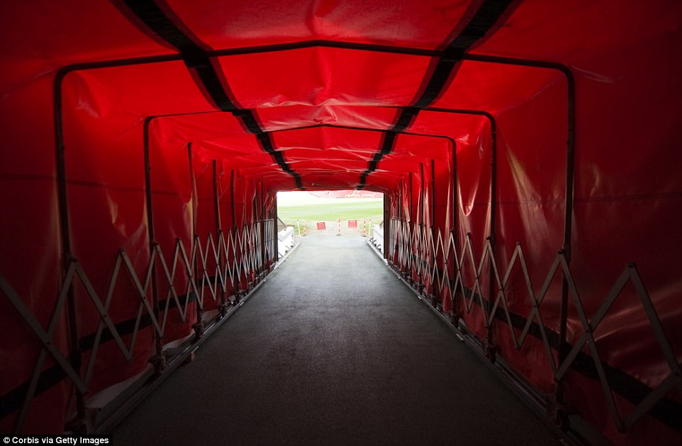 The  tunnel at Old Trafford, where the huge brawl between the United and City players broke out on Sunday afternoon