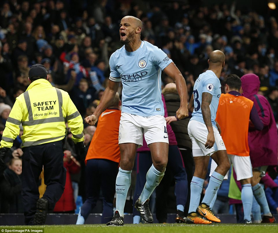 City skipper Vincent Kompany got heavily involved in the incident with his defensive partner Nicolas Otamendi also joining in