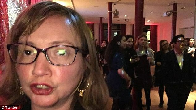 Venice Allan, 42, accused the Labour Party of 'an appalling, Orwellian betrayal of women' after she was made to leave a Women's Network Event (pictured: Lily Madigan in the background of the photo)
