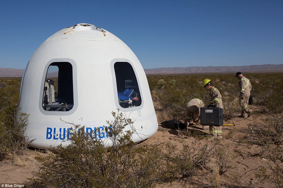 Blue Origin, the space tourism firm owned by Amazon's Jeff Bezos, has successfully flown its reusable space tourism passenger capsule for the first time. This image shows the capsule after it landed near the launch site in western Texas, with a test dummy pictured in the right window