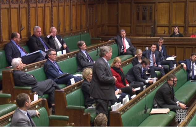 Pictured are Tory MPs - including many of the rebels - in the Commons on Wednesday afternoon