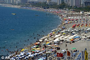 Tui has reported a 70% rise in bookings to Turkey. Pictured: Konyaalti beach in Antalya