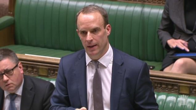 Justice minister Dominic Raab (pictured) offered assurances that powers in the bill that trouble Tory rebels will not be used until the exit agreement is written into UK law