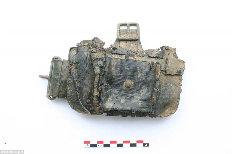 This picture shows a German holster used by soldiers for carrying items such as cartridges. It was found in the test dig conducted in 2015 as a housing developer threatened to build on the site