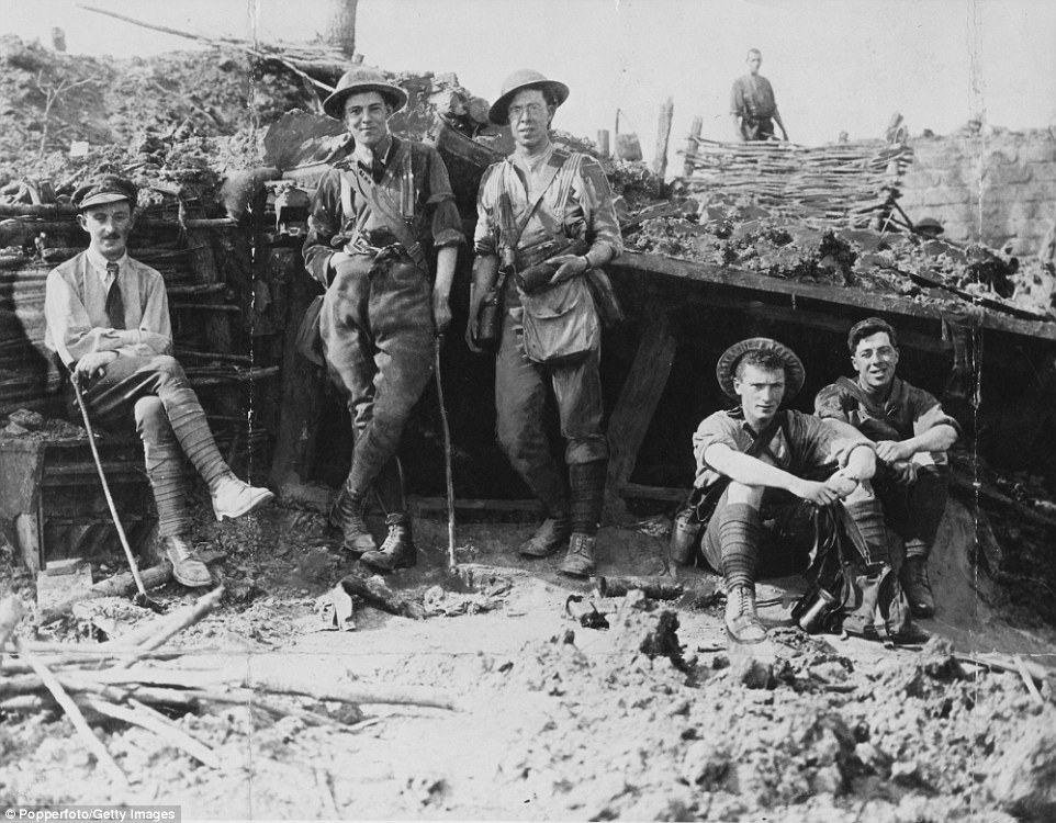 British observers are pictured at a captured German observation post after an advance on the Messines Ridge during the Battle of Messines, in June 1917.Because the Germans held the position for so long (from late 1914 to 7 June 1917) they were able to build a network of trenches fortified like few others