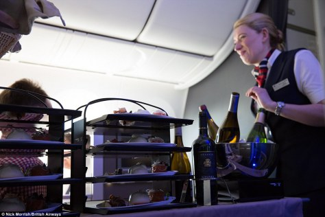 Food for thought: BA's new restaurant-style food service, which gives passengers the freedom to select dishes from a choice of freshly-prepared starters and desserts