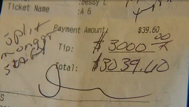The $3,000 dollar tip left for staff at a small cafe in Washington on the weekend