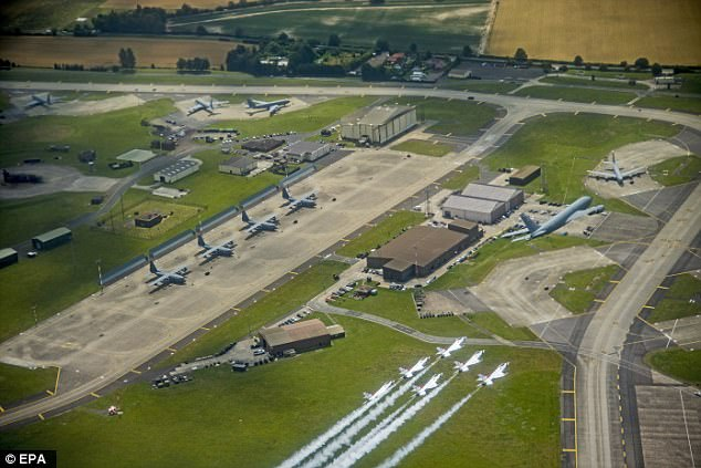 The 1,162-acre base, which houses about 3,100 US military and an additional 3,000 family members, is used by the US to refuel US and Nato aircraft in Europe