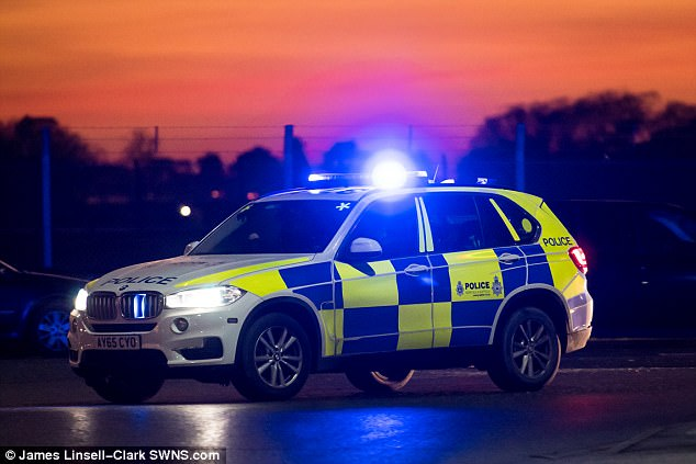 A police car is pictured at the scene following the incident at RAF Mildenhall this afternoon