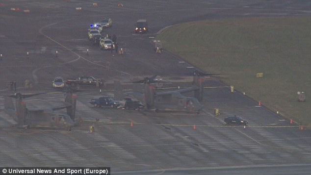 Videos show a cordon surrounding a Bell Boeing V-22 Osprey (pictured) a few hours after the incident, which Suffolk Police do not believe to be terror-related
