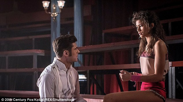 Romance: In the film, Zendaya plays Anne Wheeler, a trapeze artist, who falls in love with Zac Efron's character, Phillip Carlyle (L)
