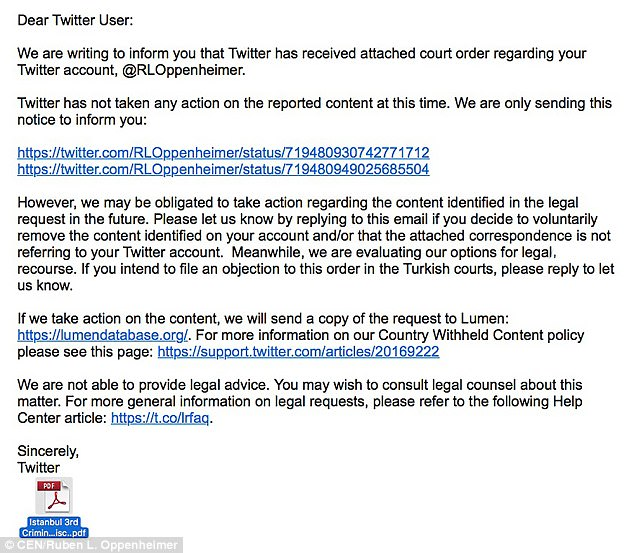 The letter from Twitter said the company did not plan to take any action against Oppenheimer, but merely wanted to inform him about the court order