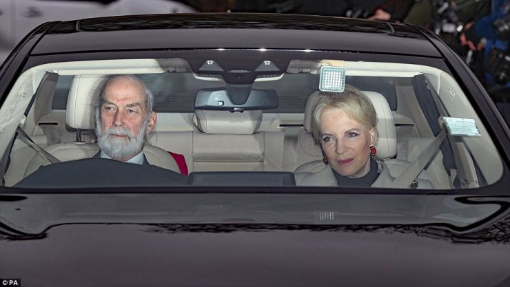 The Queen's cousin Prince Michael of Kent arrived with his wife Princess Michael of Kent who looked typically glamorous