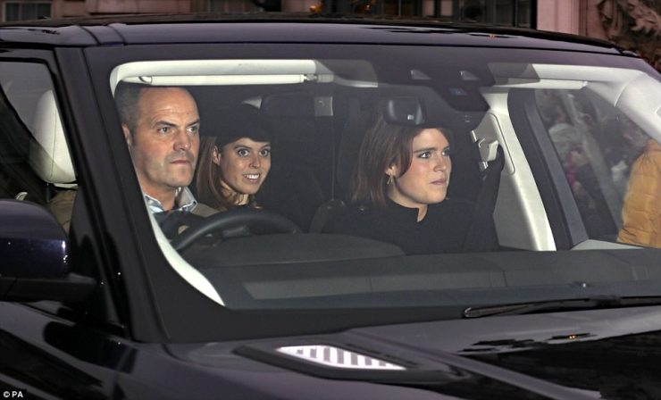 For the drive back the two sisters swapped seats so that Eugenie was able to sit up front well Beatrice sat in the back