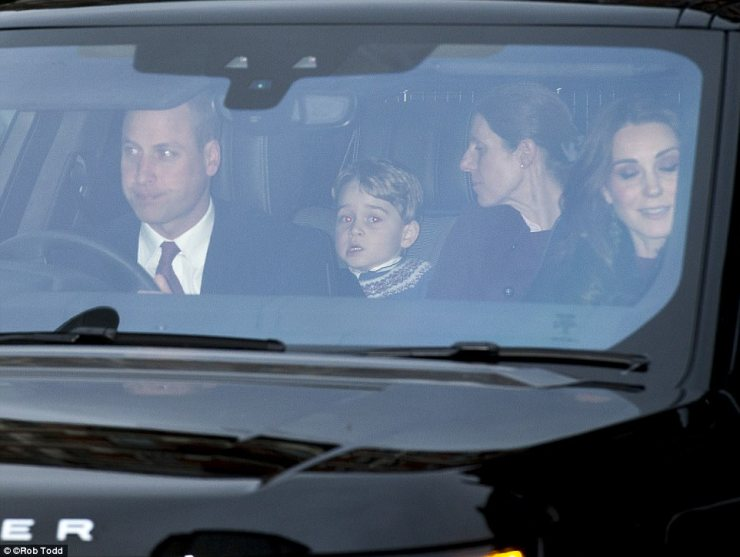 The four-year-old could be seen pulling funny faces in the back of his car under the watchful eye of his nanny Maria Borrallo