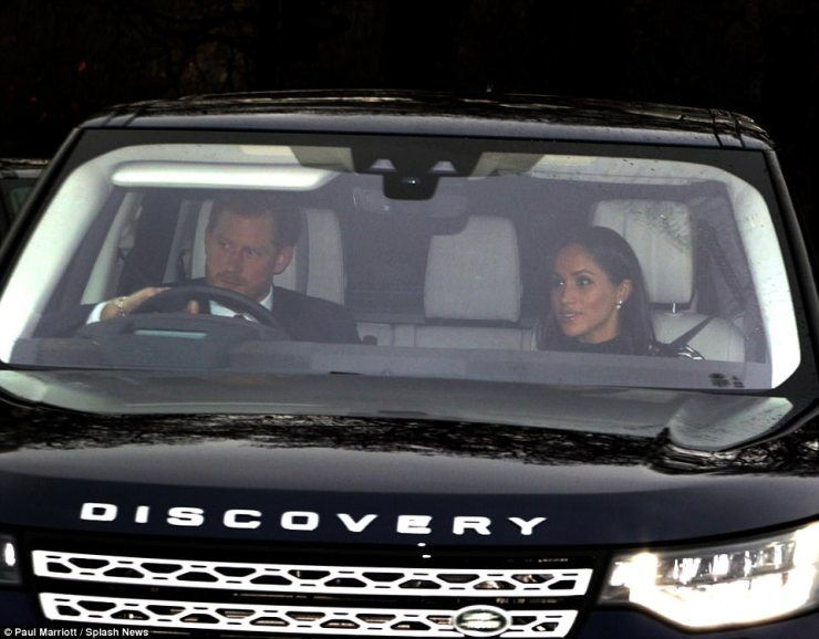 A roaring success? Meghan looked at ease as she departed from her first Christmas lunch with the Queen