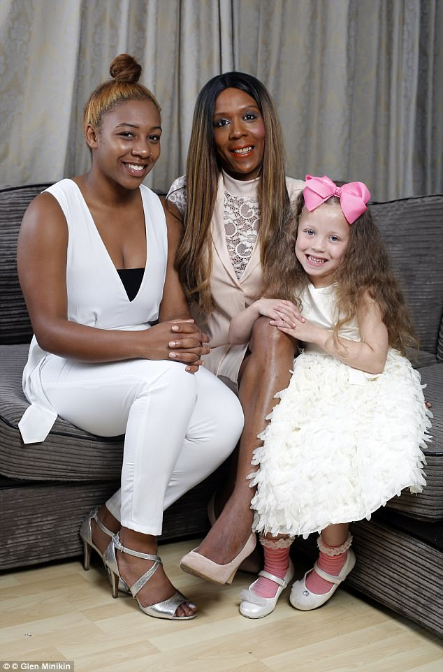 Despite their differences in appearance Sophia says that she and Tiara are 'peas in a pod' when it comes to personality. Pictured: Sophia with Donchae and Tiara