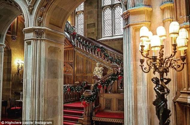 Attention to detail: The beautiful staircases are hung with garlands finished with festive bows