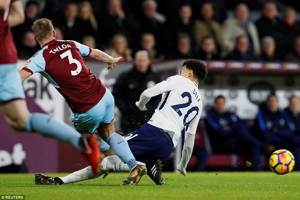 Alli lunged in on Burnley left back Charlie Taylor inside the opening four minutes and the home fans wanted him sent off