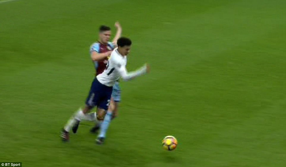 A penalty was awarded and replays on BT Sport confirmed that Alli has indeed been fouled by Burnley defender Long
