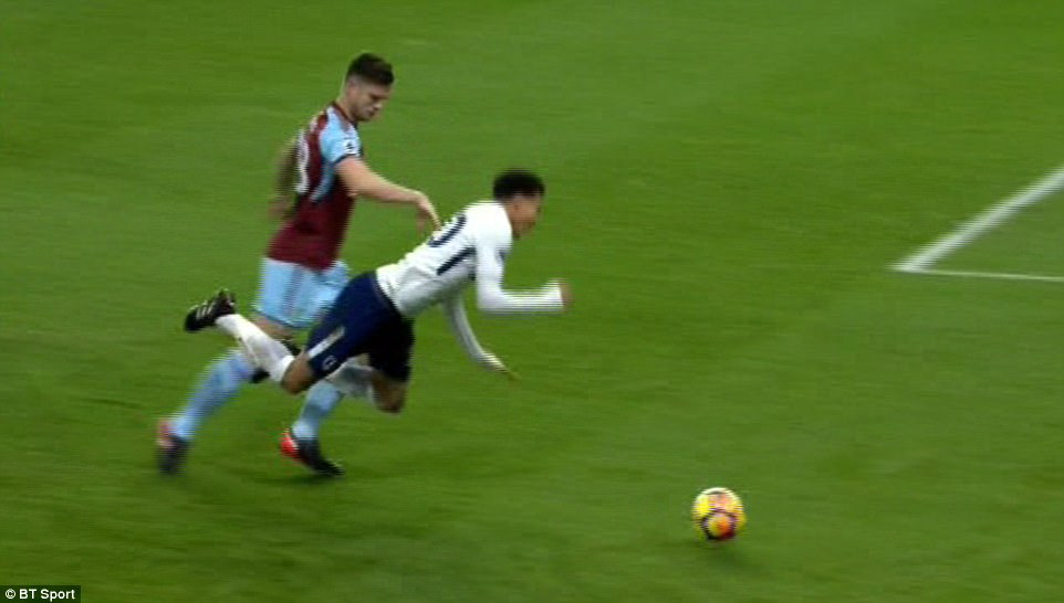 Moments later Alli upset the Burnley faithful further by going down in the 18 yard box under a challenge fromKevin Long