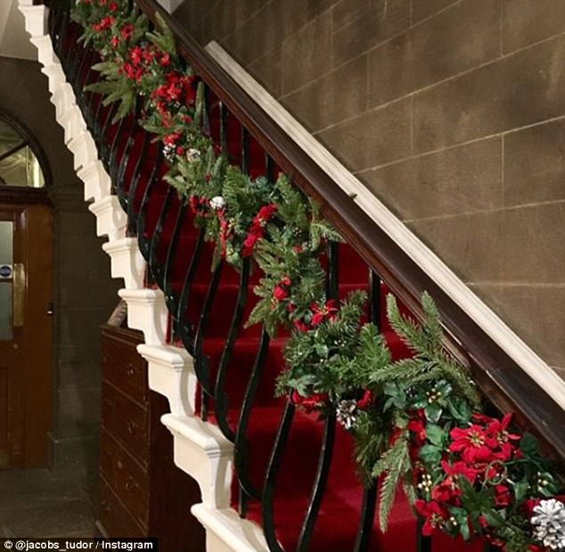 Warm: With the thick red carpet, this staircase looks like the perfect backdrop for Christmas