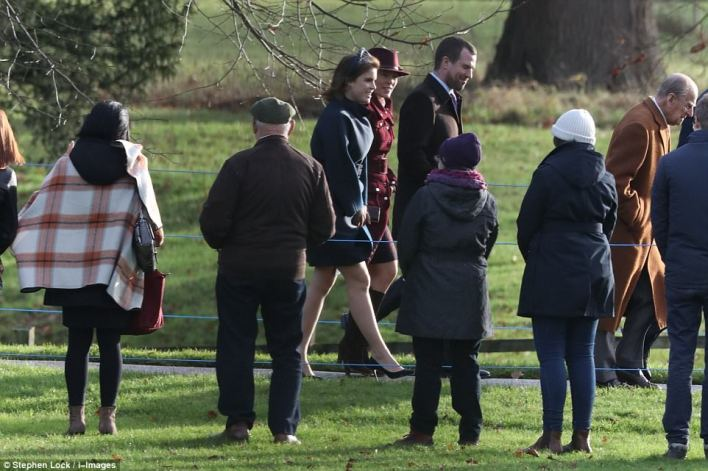 Merry Christmas! The royals, including Princess Beatrice, smiled at well-wishers gathered amid tight security at the royal estate this morning
