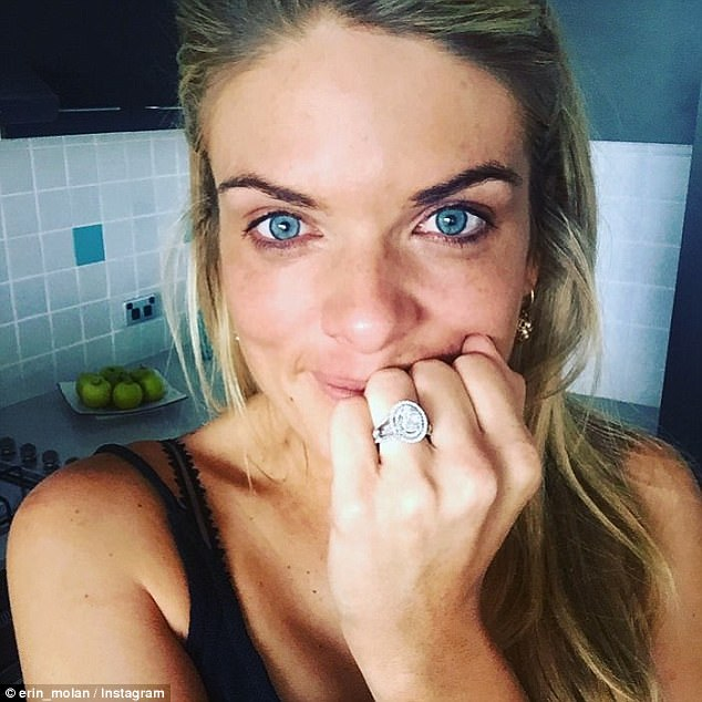 Off the market: Channel Nine television presenter Erin Molan, 34, confirmed on the NRL Footy Show in April, that she's set to wed her policeman beau Sean Ogilvy, 41