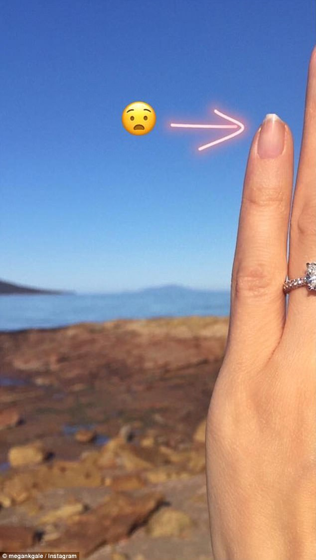 Creative: Showing off her creativity, the stunner shared a partial snap of her stunning diamond sparkler at the beach, and was captioned: 'I know you're not supposed to remove shells and rocks from the beach... but I did find one rock that was pretty special and just had to keep it'