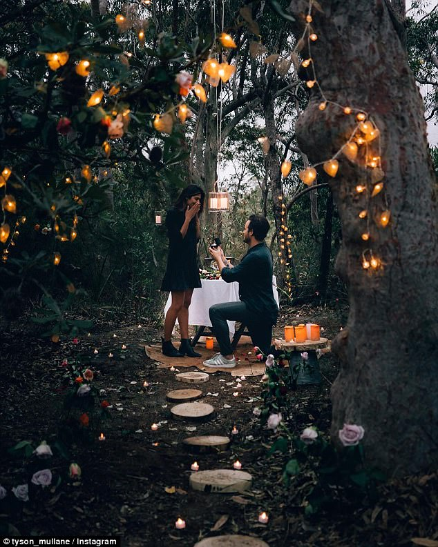 Romantic: Seen on bended knee in a secluded forest, the hunk stared intently into his lovers eyes, presenting the actress with a brilliant-cut diamond, 18-carat gold engagement band