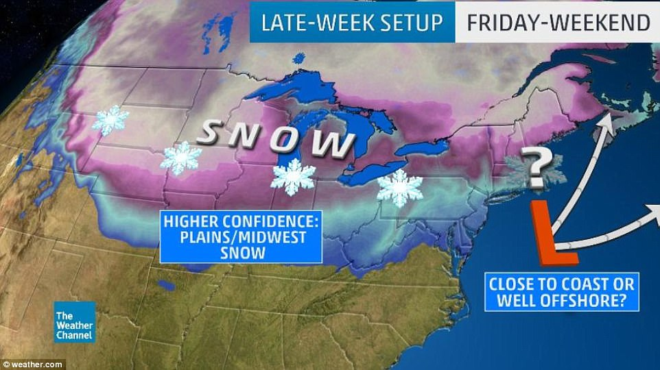 Forecasters predict snow for the Midwest and Plains region of the country, but it's unclear how much snow will hit the Northeast over the holiday weekend