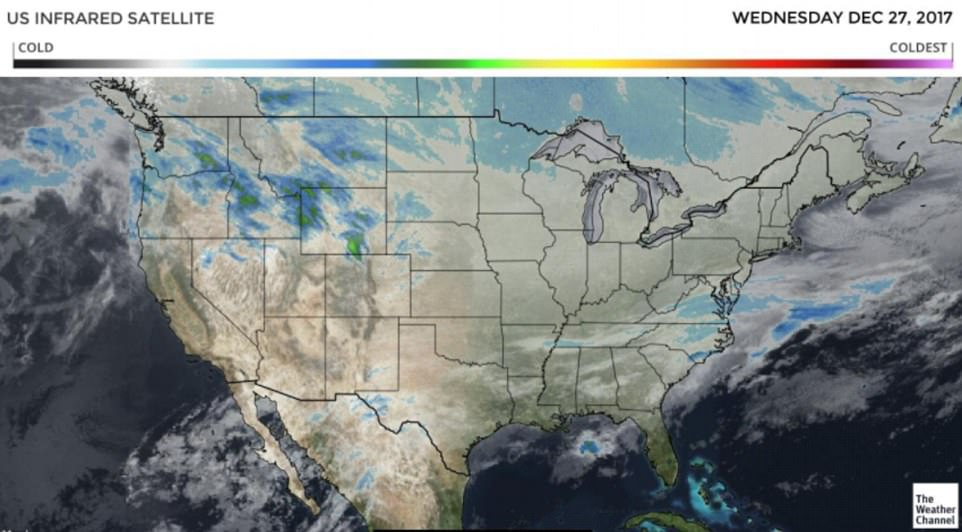 The above infrared satellite map shows the current cloud cover over the U.S. along with the temperatures from cold to coldest