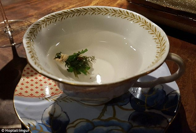 First: When she sat down, she was served tea that was made with fresh Douglas fir, yarrow, chamomile, lemon balm, anise and hyssop and seeped in hot Meyer lemon water