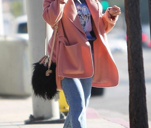 Pop Of Pink Vanessa Hudgens Was Wrapped Up In A Cozy Coat And Hat More