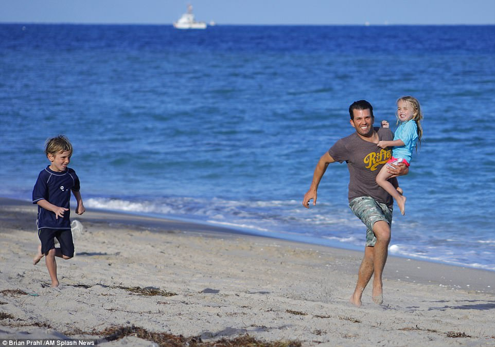 Don Jr. smiled for cameras as he got some exercise in the sun with his little family
