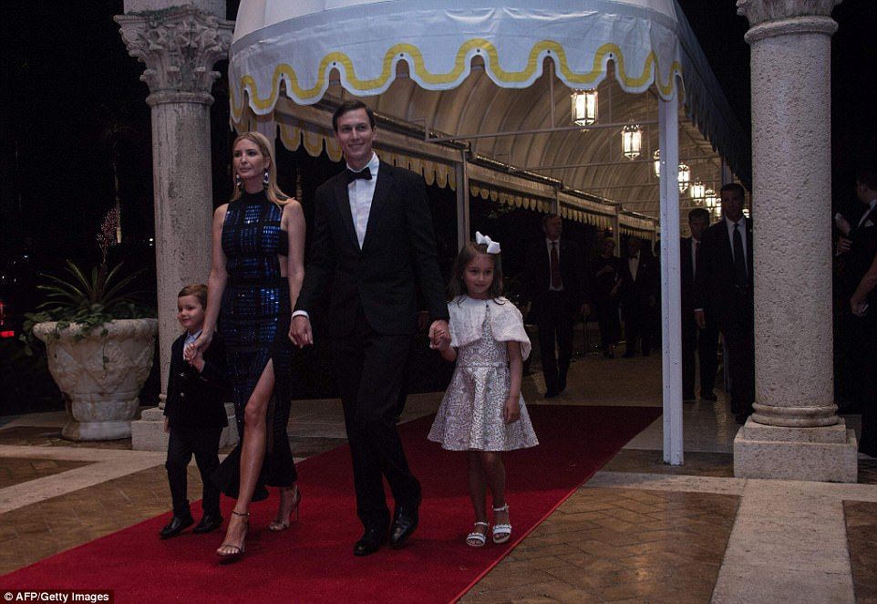 Ivanka Trump, her husband Jared Kushner and their children Arabella and Joseph arrive at a new year's party at US president Donald Trump's Mar-a-Lago resort