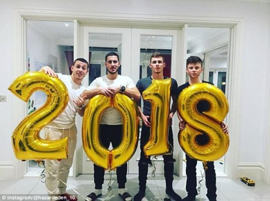 (Left-right) The Hazard brothers Kylian, Eden, Thorgan and Ethan celebrate 2018's arrival