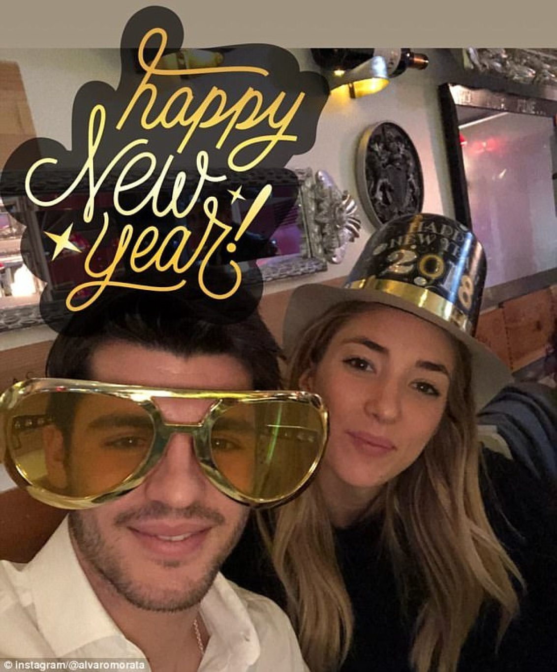Chelsea strikerAlvaro Morata wore his party prop - a pair of novelty, oversized, golden glasses