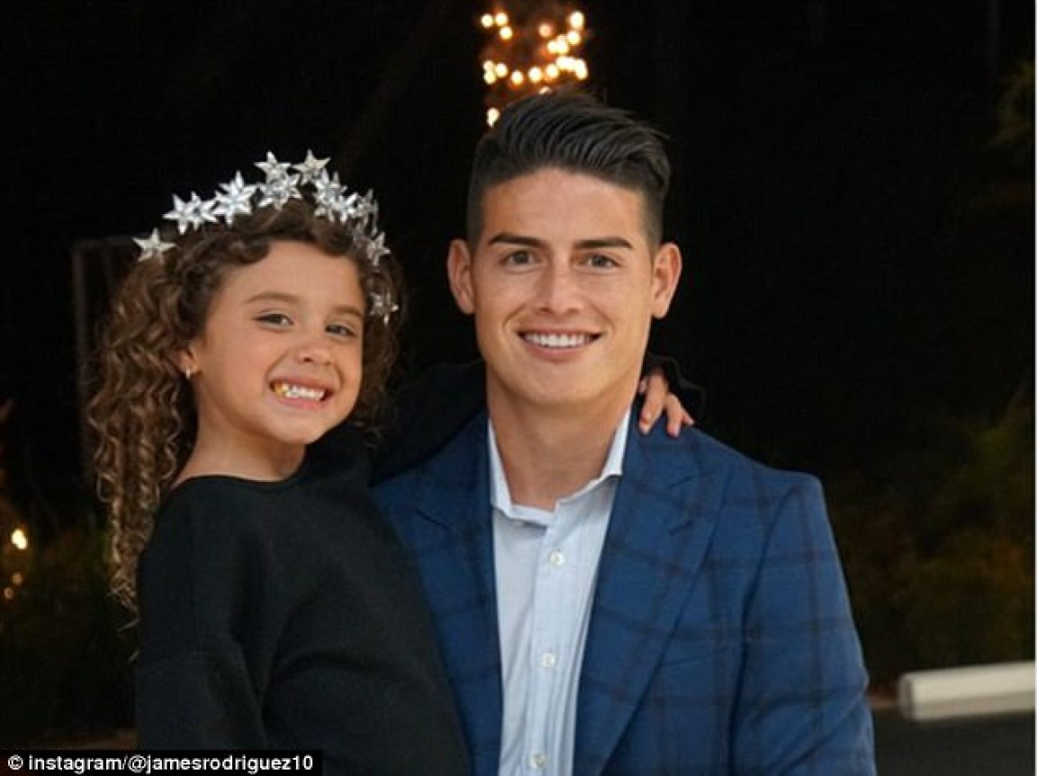 Celebration with family was the theme for James Rodriguez, with young daughter Salome