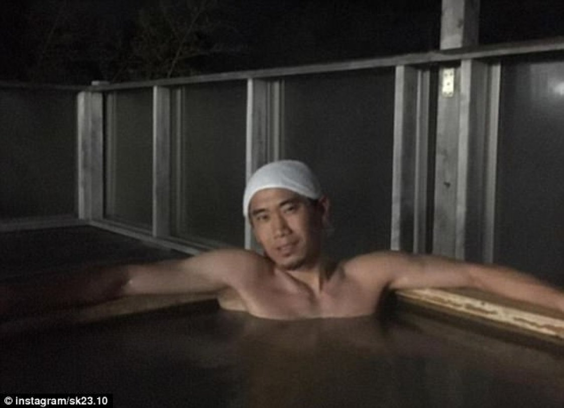 Shinji Kagawa's unusual effort stood out - he wished  Happy New Year while soaking in a hot tub