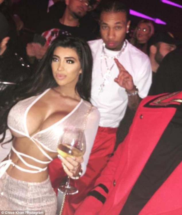 Partying up a storm: Busty Chloe partied up a storm with Kylie Jenner's ex Tyga during festive Dubai break on Monday night