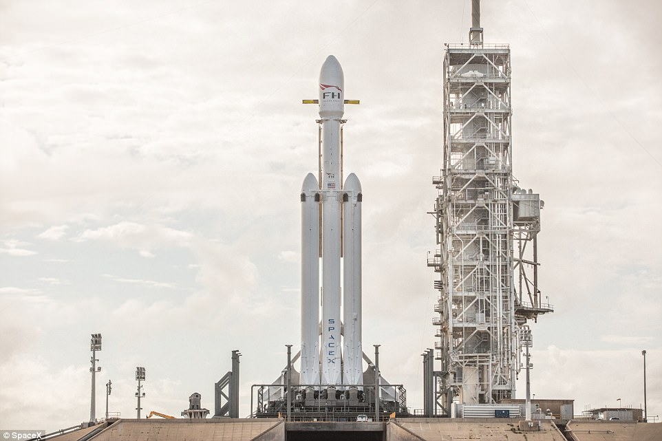 Elon Musk has announced SpaceX will launch 'the world's most powerful rocket' in 2018 with his own electric car on board.The Falcon Heavy 'megarocket' (pictured) will fire beyond orbit from the former Apollo 11 moon rocket launchpad at the Kennedy Space Centre near Cape Canaveral, Florida