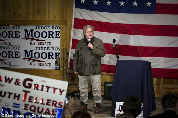 Steve Bannon, chairman of Breitbart News Community LLC, speaks at some level of a campaign rally for Roy Moore, Republican candidate for U.S. Senate from Alabama