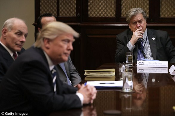 White Apartment Chief Strategist Steve Bannon (R) listens to U.S. President Donald Trump before the full lot of a meeting with authorities cyber safety consultants within the Roosevelt Room on the White Apartment January 31, 2017 in Washington