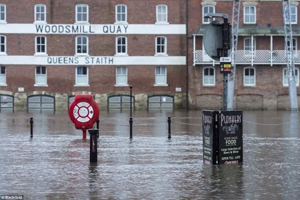 The River Ouse, in York, broke its banks in a single day as Storm Eleanor left Britain battered and bruised