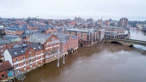 York is facing a recurring flooding nightmare as rivers surrounding its frail streets topped over their banks after Eleanor